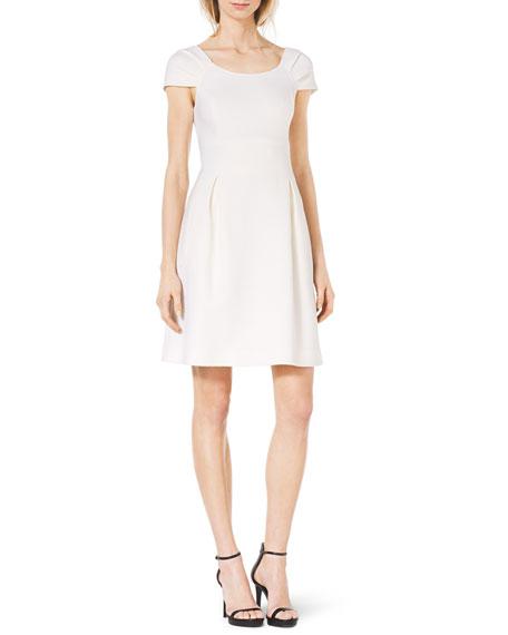 Pleat-Sleeve Stretch-Wool Dress