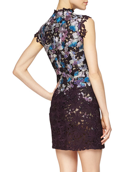 Floral-Embroidered Guipure Lace Dress
