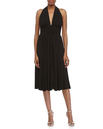 Sleeveless Fit-&-Flare Halter Dress, Black