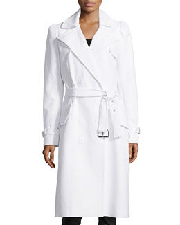 Double-Breasted Trench Coat, Optic White