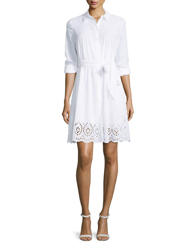Josie Eyelet-Trim Voile Shirtdress