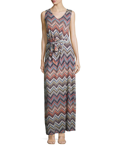 Charlene Chevron-Print Maxi Dress