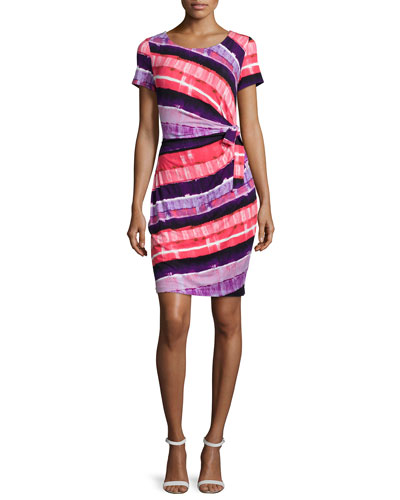 Gabriella Short-Sleeve Printed Wrap Dress