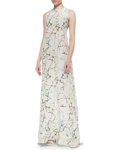 Regi Aquarella-Print Maxi Dress, Multicolor