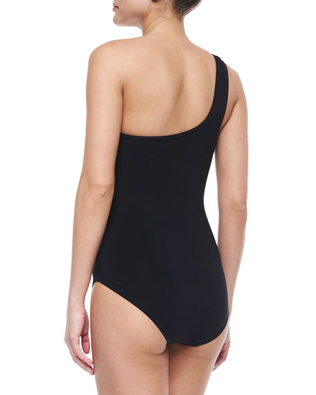 Knotted-Front One-Shoulder Swimsuit, Black