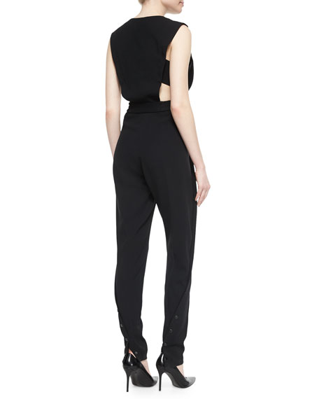 Crepe Cutout Jumpsuit, Black