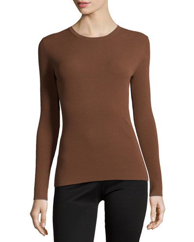 Long-Sleeve Fitted Top, Nutmeg