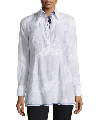 Long-Sleeve Embroidered Tunic