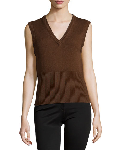 Ribbed-Trim Sleeveless Vest, Nutmeg