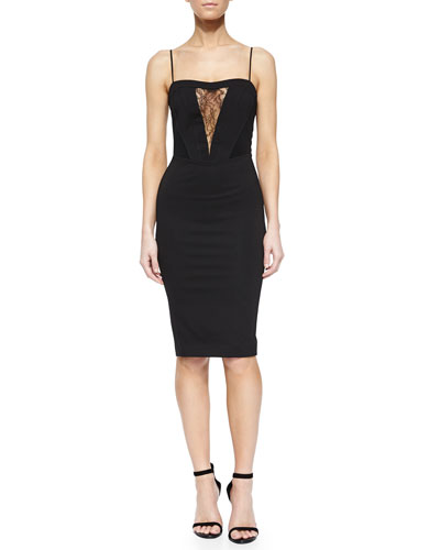 Lara Lace-Inset Sheath Dress, Black
