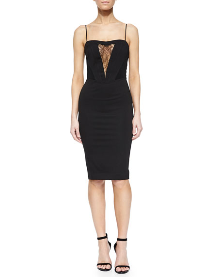 Noam Hanoch Lara Lace-Inset Sheath Dress, Black