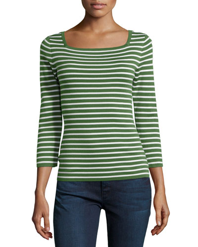 3/4-Sleeve Cashmere Top, Grass/Optic White