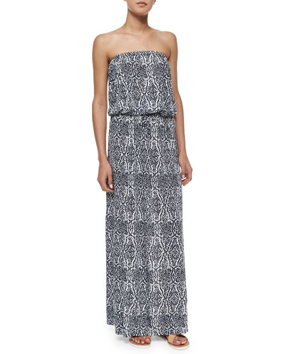 Groovey Printed Strapless Maxi Dress