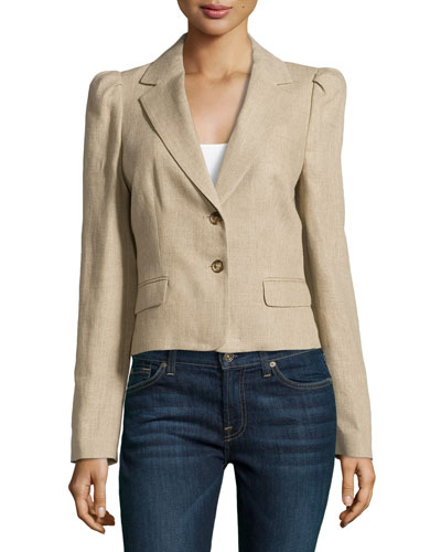 Long-Sleeve Jacket with Puffed Shoulders, Hemp