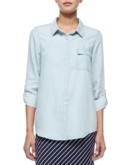 Soft Joie Onyx Chambray Button-Down Shirt, Light Indigo