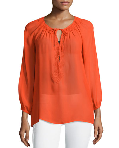 Aldridge Tie-Neck Silk Top