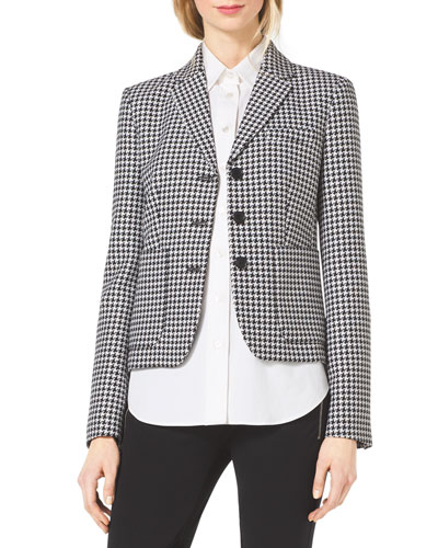 Houndstooth Fitted Wool-Jacquard Blazer