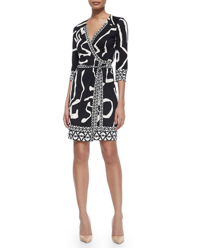 Abstract Silk Wrap Dress, Black