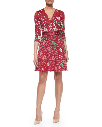 Silk Floral Wrap Dress, Red
