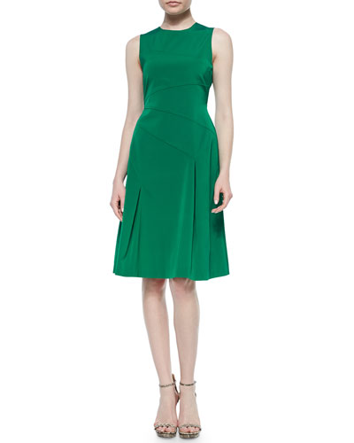 Sleeveless Crewneck Tea-Length Dress