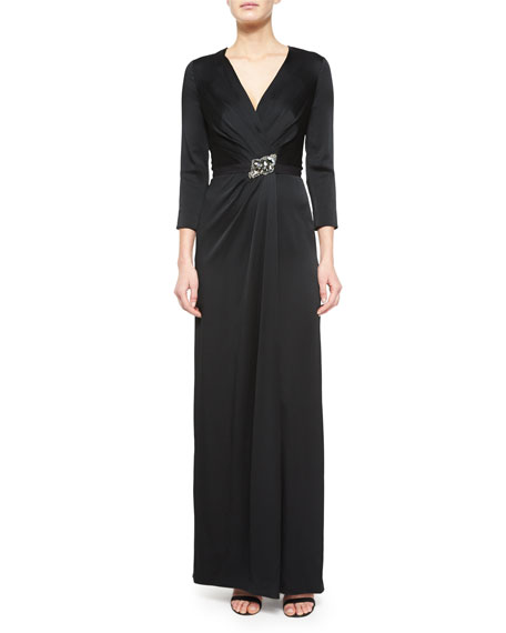 Jenny Packham Crystal-Embellished 3/4-Sleeve Satin Gown, Black