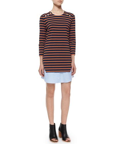 Charter Layered Striped/Chambray Dress