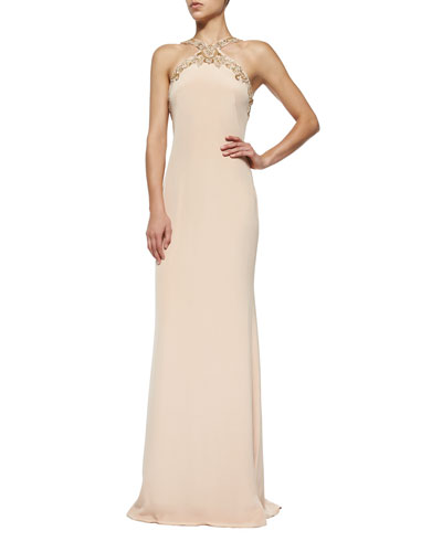 Embellished Halter Column Gown