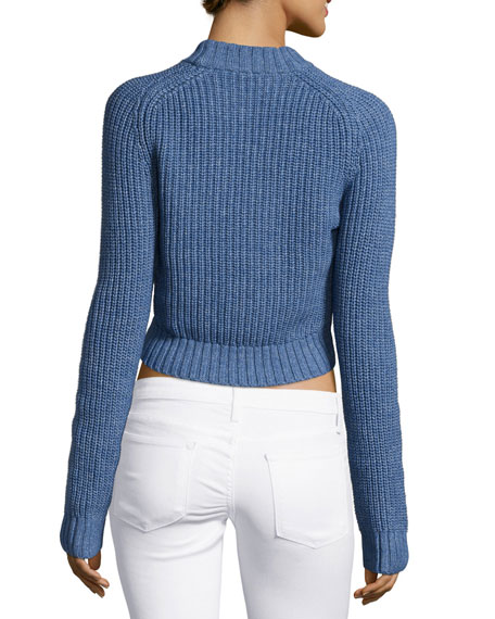 Shaker-Knit Crop Sweater, Chambray