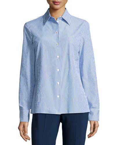 Skinny-Stripe Slim Shirt, Oxford/Optic White