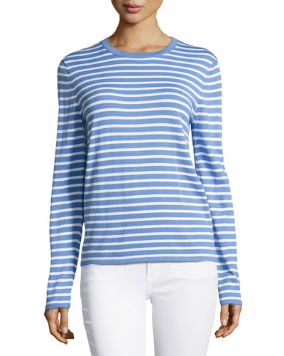 Long-Sleeve Striped Top, Oxford/White