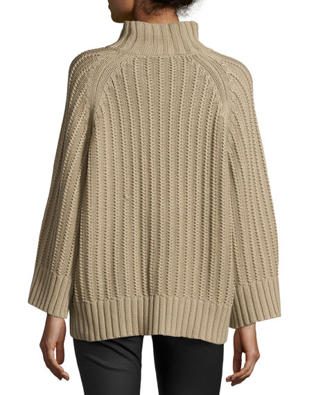 Ribbed Shaker-Knit Sweater, Sand