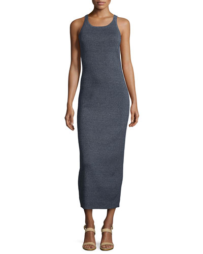 Sleeveless Ribbed Tank Dress, Indigo