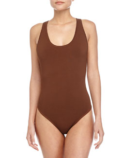 Crisscross-Back Tank Bodysuit, Nutmeg
