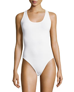 Crisscross Back Tank Bodysuit, Optic White
