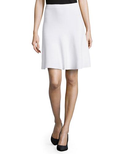 Slight-Ruffle A-Line Skirt, Optic White