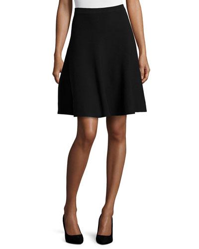 Slight-Ruffle A-Line Skirt, Black