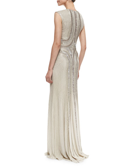 Sleeveless Round-Neck Sequin Gown, Fawn