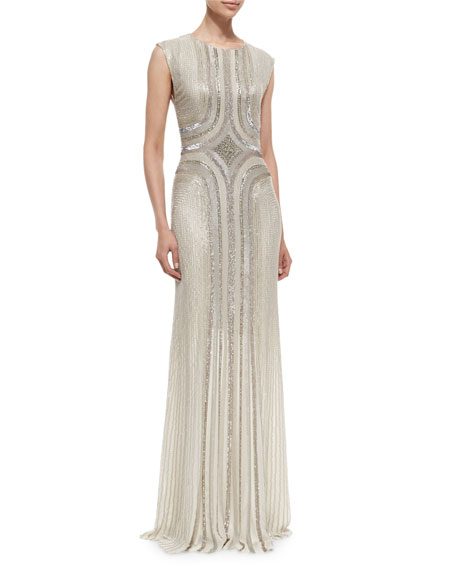 Jenny Packham Sleeveless Round-Neck Sequin Gown, Fawn