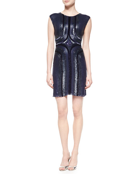 Jenny Packham Geometric Sequined Cocktail Dress
