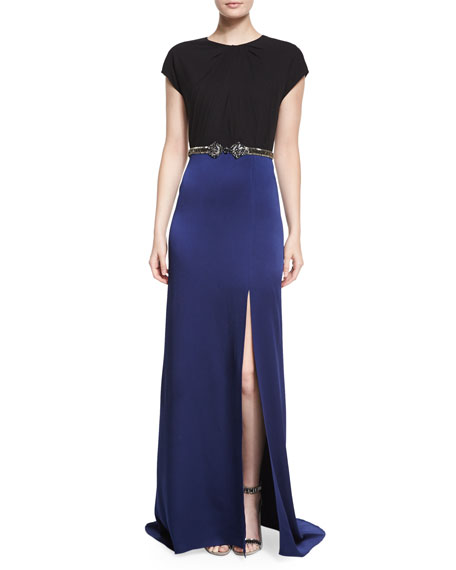 Jenny Packham Colorblock Crystal-Detailed Slit Gown