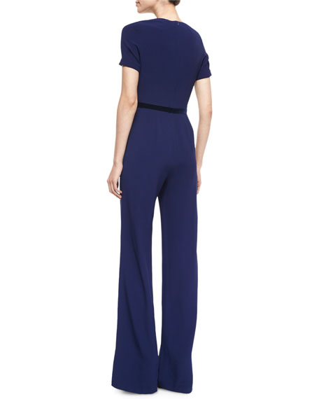 Short-Sleeve Embellished-Neck Jumpsuit, Abyss Blue