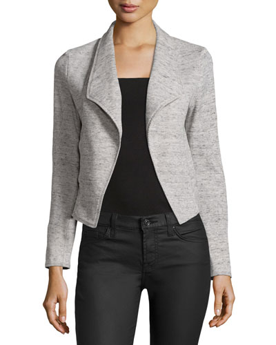 Crisscross-Back Open-Front Jacket, Gray