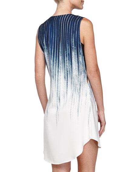 Organza-Underpinning Striped V-Neck Dress, Indigo
