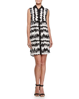 Printed Sleeveless Shirtdress, Black/White