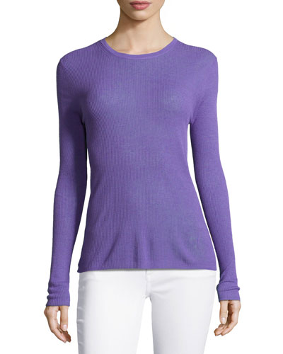 Long-Sleeve Ribbed Top, Hyacinth
