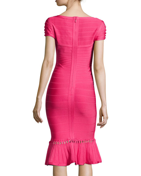 Muriel Twist-Detail Bandage Dress, Pink