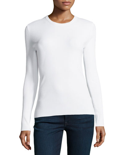 Long-Sleeve Skinny-Ribbed Top, White
