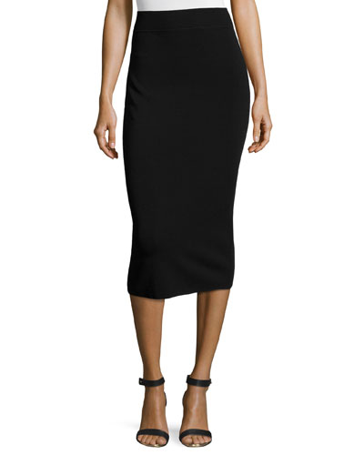 Fitted Knit Tube Skirt, Black
