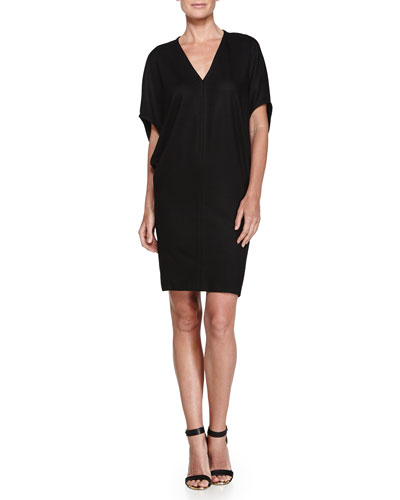 Sonar V-Neck Wool Dress, Black