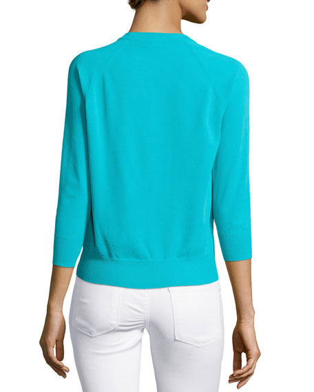 3/4-Sleeve Knit Sweater, Aqua